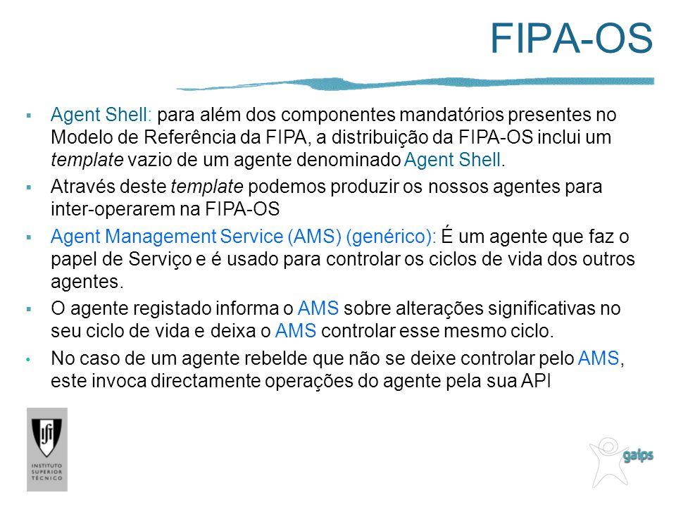 FIPA-OS Agent Shell: para além dos componentes mandatórios presentes no Modelo de Referência da FIPA, a distribuição da FIPA-OS inclui um template vazio de um agente denominado Agent Shell.