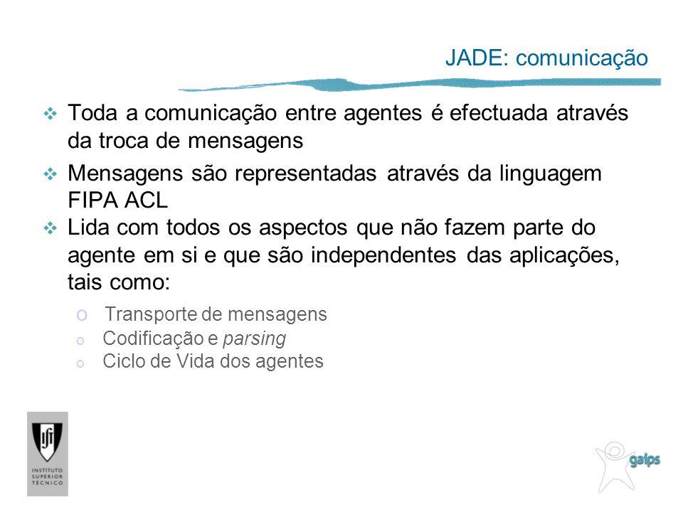 JADE: comunicação Toda a comunicação entre agentes é efectuada através da troca de mensagens Mensagens são representadas através da linguagem FIPA ACL Lida com todos os aspectos que não fazem parte do agente em si e que são independentes das aplicações, tais como: o Transporte de mensagens o Codificação e parsing o Ciclo de Vida dos agentes
