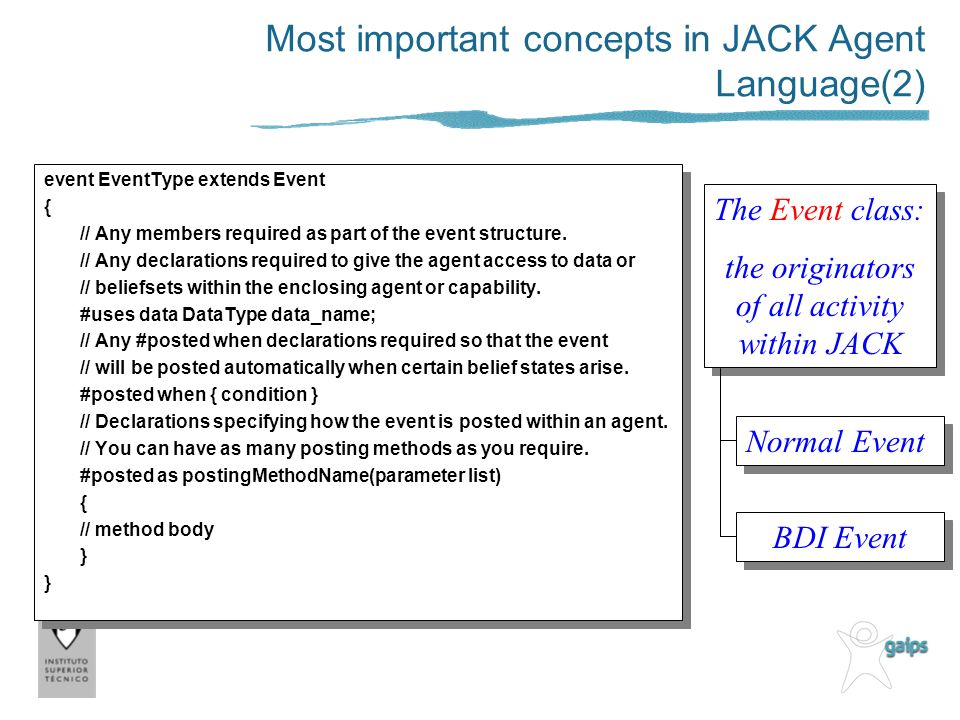 Most important concepts in JACK Agent Language(2) event EventType extends Event { // Any members required as part of the event structure. // Any decla