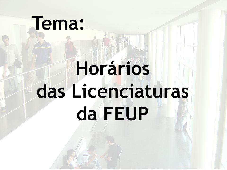 Tema: Horários das Licenciaturas da FEUP