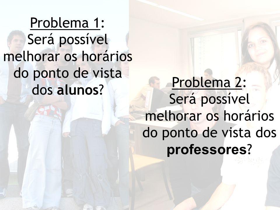 Problema 2: Será possível melhorar os horários do ponto de vista dos professores .