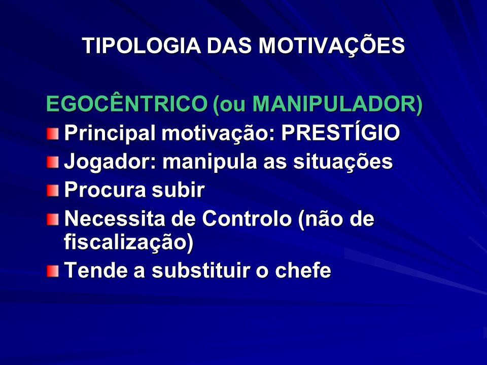 TIPOLOGIA DAS MOTIVAÇÕES EGOCÊNTRICO (ou MANIPULADOR) Principal motivação: PRESTÍGIO Jogador: manipula as situações Procura subir Necessita de Control