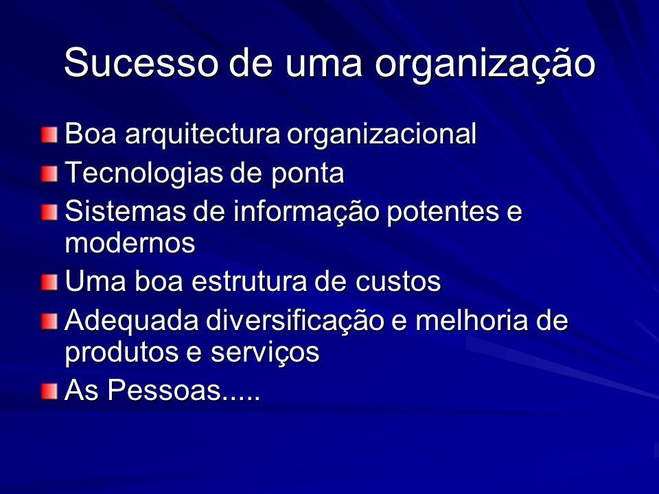 Sucesso de uma organização Boa arquitectura organizacional Tecnologias de ponta Sistemas de informação potentes e modernos Uma boa estrutura de custos