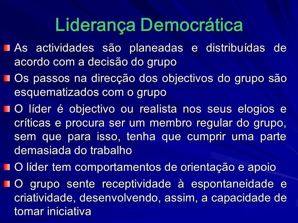 Liderança Democrática As actividades são planeadas e distribuídas de acordo com a decisão do grupo Os passos na direcção dos objectivos do grupo são e