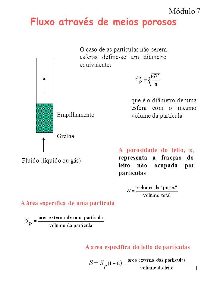 1 Fluxo através de meios porosos Grelha Fluido (líquido ou gás) Empilhamento O caso de as partículas não serem esferas define-se um diâmetro equivalen