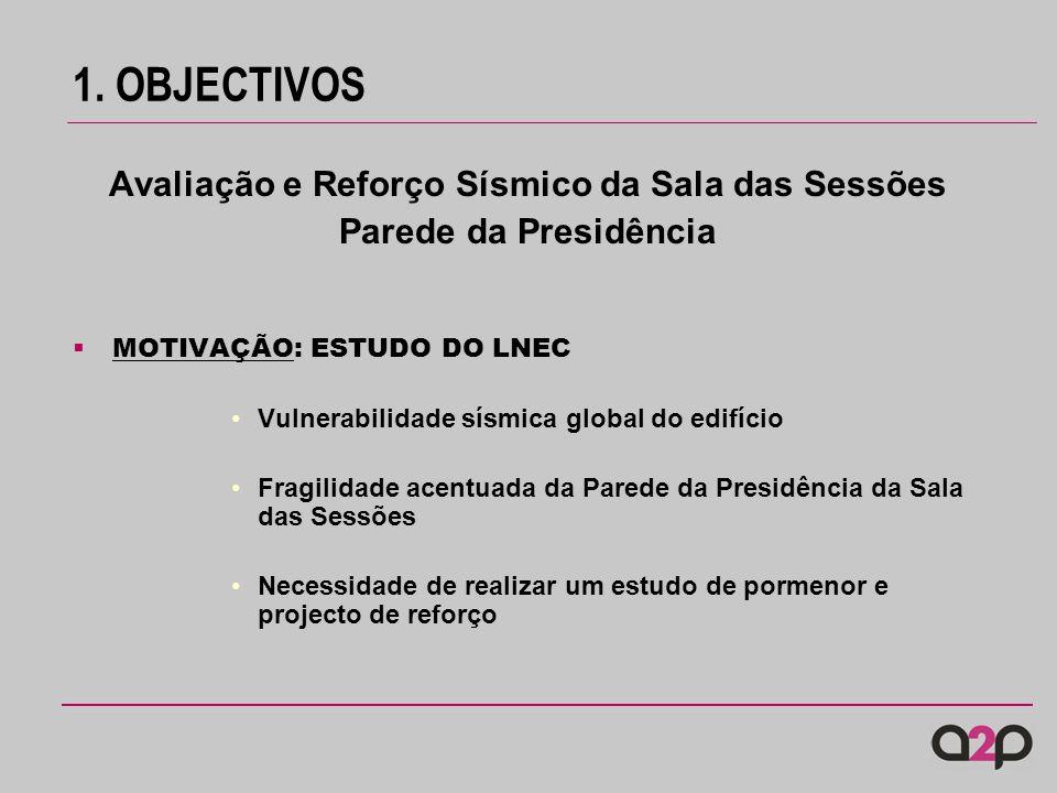 1. OBJECTIVOS Avaliação e Reforço Sísmico da Sala das Sessões Parede da Presidência MOTIVAÇÃO: ESTUDO DO LNEC Vulnerabilidade sísmica global do edifíc