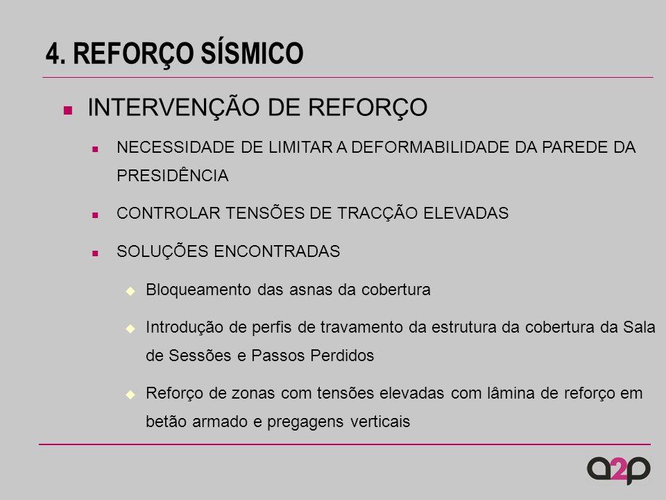 4. REFORÇO SÍSMICO NECESSIDADE DE LIMITAR A DEFORMABILIDADE DA PAREDE DA PRESIDÊNCIA CONTROLAR TENSÕES DE TRACÇÃO ELEVADAS SOLUÇÕES ENCONTRADAS Bloque