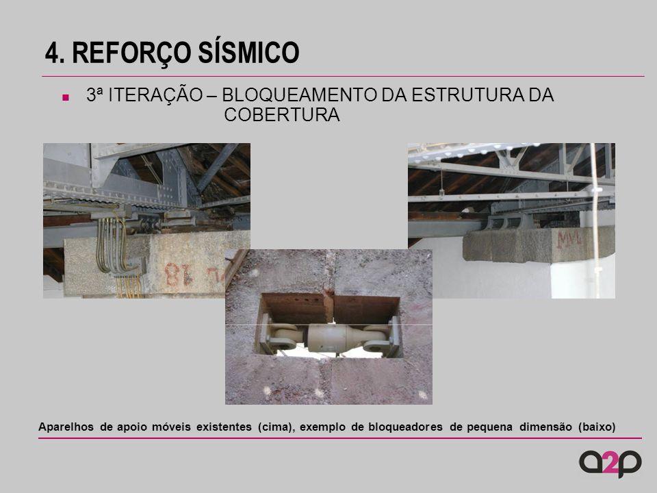 4. REFORÇO SÍSMICO Aparelhos de apoio móveis existentes (cima), exemplo de bloqueadores de pequena dimensão (baixo) 3ª ITERAÇÃO – BLOQUEAMENTO DA ESTR
