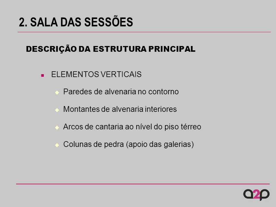 2. SALA DAS SESSÕES DESCRIÇÃO DA ESTRUTURA PRINCIPAL ELEMENTOS VERTICAIS Paredes de alvenaria no contorno Montantes de alvenaria interiores Arcos de c