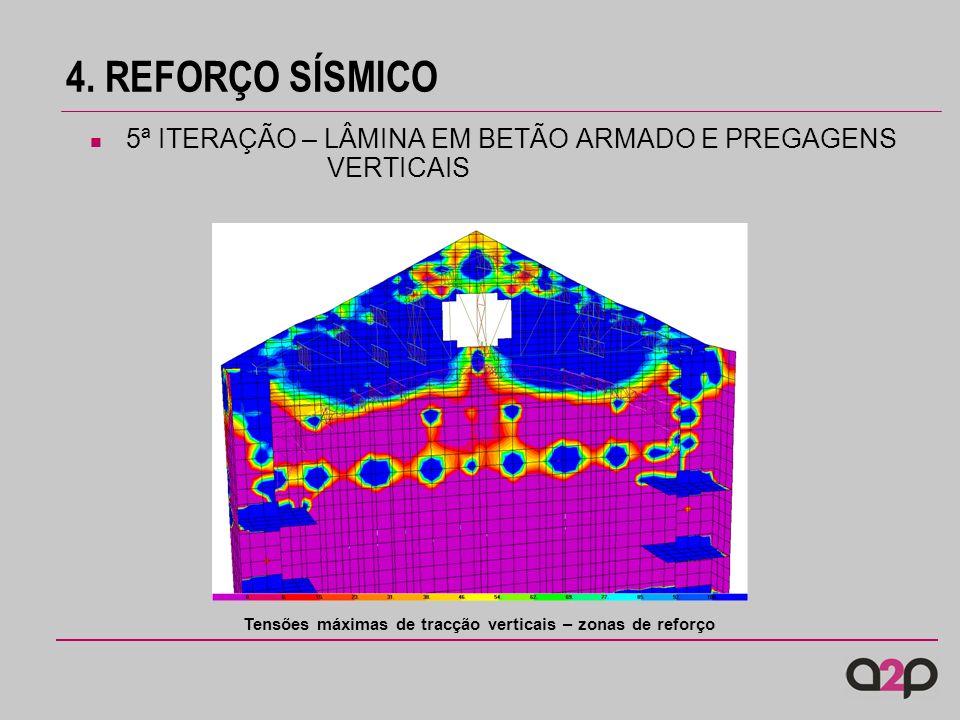 4. REFORÇO SÍSMICO 5ª ITERAÇÃO – LÂMINA EM BETÃO ARMADO E PREGAGENS VERTICAIS Tensões máximas de tracção verticais – zonas de reforço