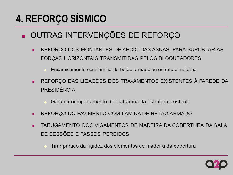 4. REFORÇO SÍSMICO OUTRAS INTERVENÇÕES DE REFORÇO REFORÇO DOS MONTANTES DE APOIO DAS ASNAS, PARA SUPORTAR AS FORÇAS HORIZONTAIS TRANSMITIDAS PELOS BLO