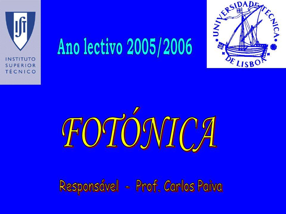 Evolução científica da Óptica (1) Óptica GeométricaÓptica Geométrica –teoria de raios –Fermat (1601-1665) e Newton (1642-1727) Óptica OndulatóriaÓptica Ondulatória –teoria de ondas –Huygens (1629-1695) e Young (1773-1829) Óptica ElectromagnéticaÓptica Electromagnética –equações de Maxwell + teoria da relatividade restrita –Maxwell (1831-1879) e Einstein (1879-1955) Óptica Quântica ou QED (Quantum Electrodynamics)Óptica Quântica ou QED (Quantum Electrodynamics) –mecânica quântica relativista –Feynman (1918-1988)