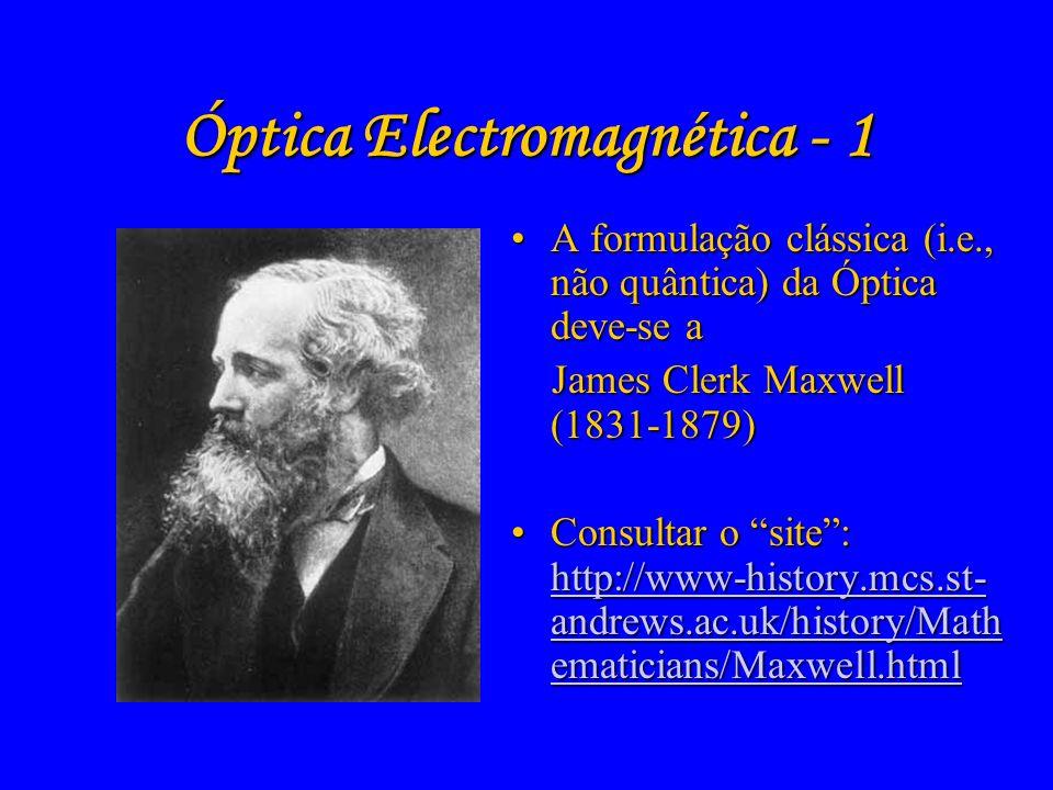 Evolução científica da Óptica (2) Óptica Geométrica Óptica Ondulatória Óptica Electromagnética Óptica Quântica