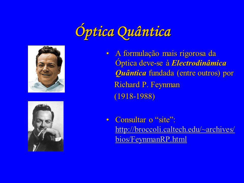 Óptica Electromagnética - 2 A formulação clássica da Óptica ganha uma interpretação mais correcta com a teoria da relatividade de Albert EinsteinA for
