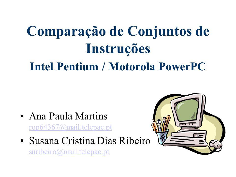 Conjunto de Instruções do PowerPC Instruções inteiras Instruções de vírgula flutuante Instruções de carregamento e de armazenamento (load/store) Instruções de propagação e de controle de fluxo Instruções de controle de processador Instruções de controle de memória
