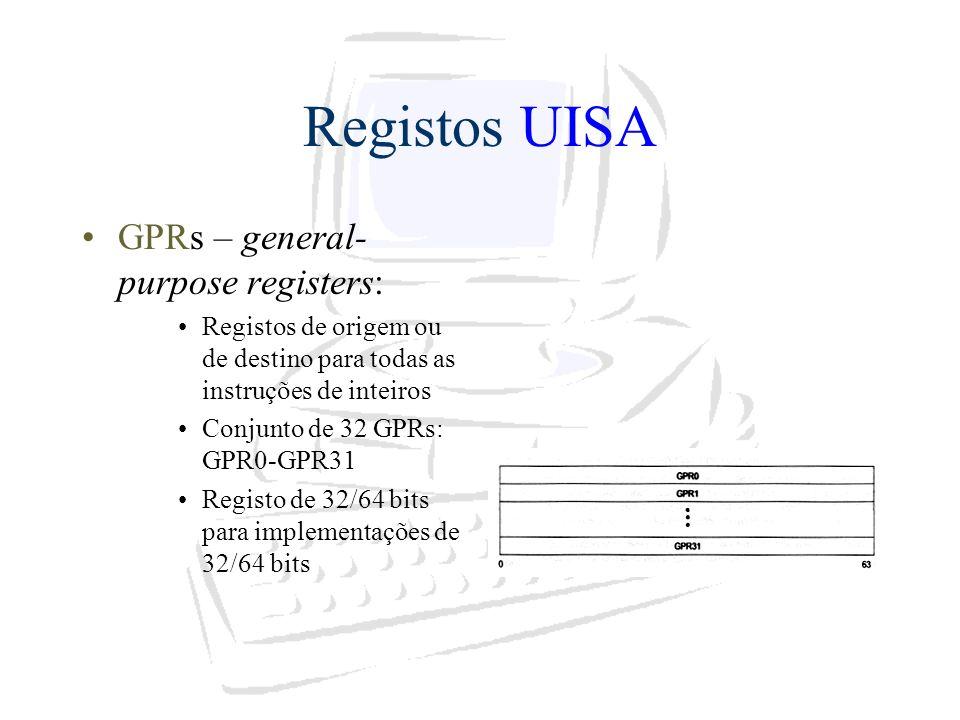 Registos UISA GPRs – general- purpose registers: Registos de origem ou de destino para todas as instruções de inteiros Conjunto de 32 GPRs: GPR0-GPR31