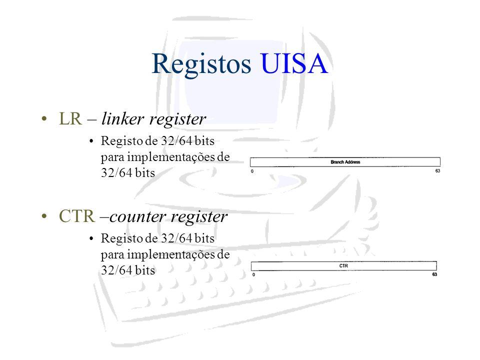 Registos UISA LR – linker register Registo de 32/64 bits para implementações de 32/64 bits CTR –counter register Registo de 32/64 bits para implementa