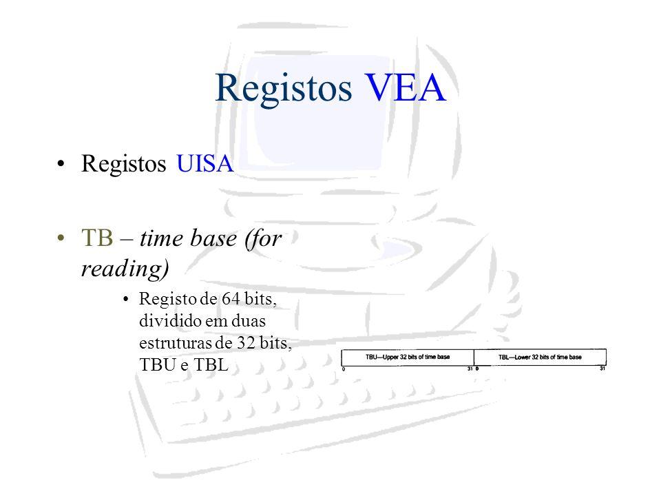 Registos VEA Registos UISA TB – time base (for reading) Registo de 64 bits, dividido em duas estruturas de 32 bits, TBU e TBL