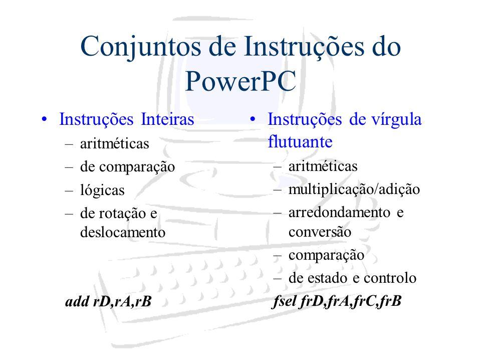 Conjuntos de Instruções do PowerPC Instruções Inteiras –aritméticas –de comparação –lógicas –de rotação e deslocamento add rD,rA,rB Instruções de vírg