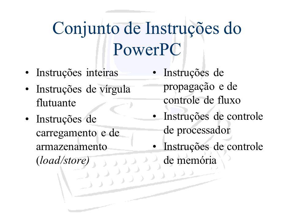 Conjunto de Instruções do PowerPC Instruções inteiras Instruções de vírgula flutuante Instruções de carregamento e de armazenamento (load/store) Instr