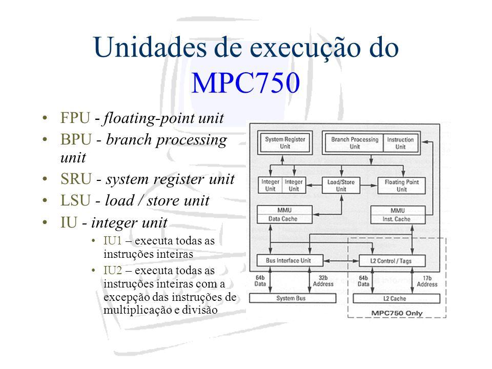 Unidades de execução do MPC750 FPU - floating-point unit BPU - branch processing unit SRU - system register unit LSU - load / store unit IU - integer