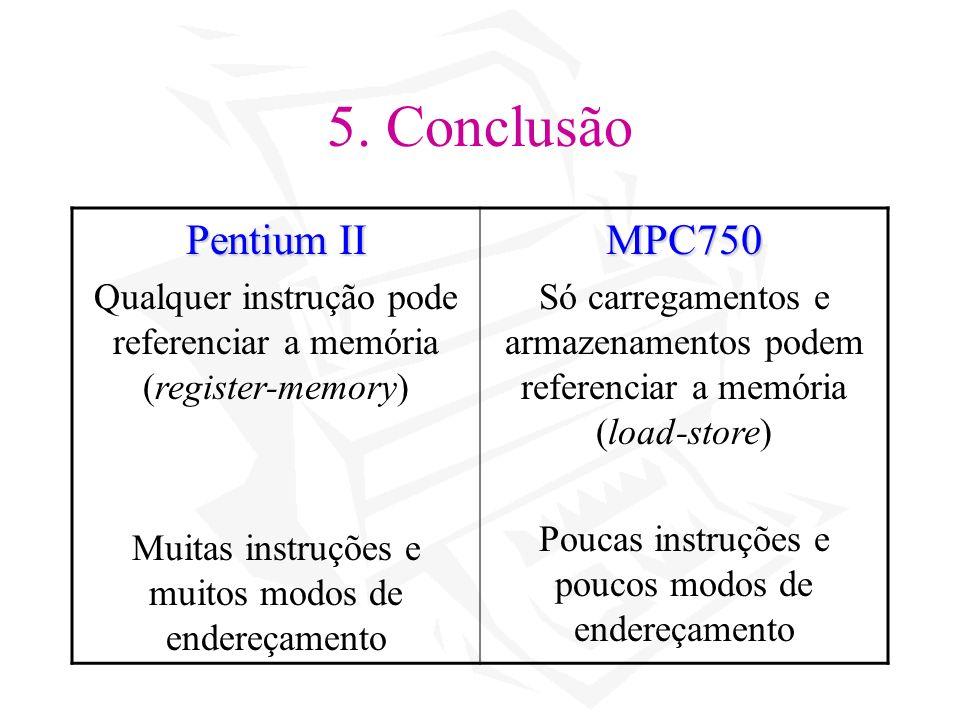 5. Conclusão Pentium II Qualquer instrução pode referenciar a memória (register-memory) Muitas instruções e muitos modos de endereçamentoMPC750 Só car