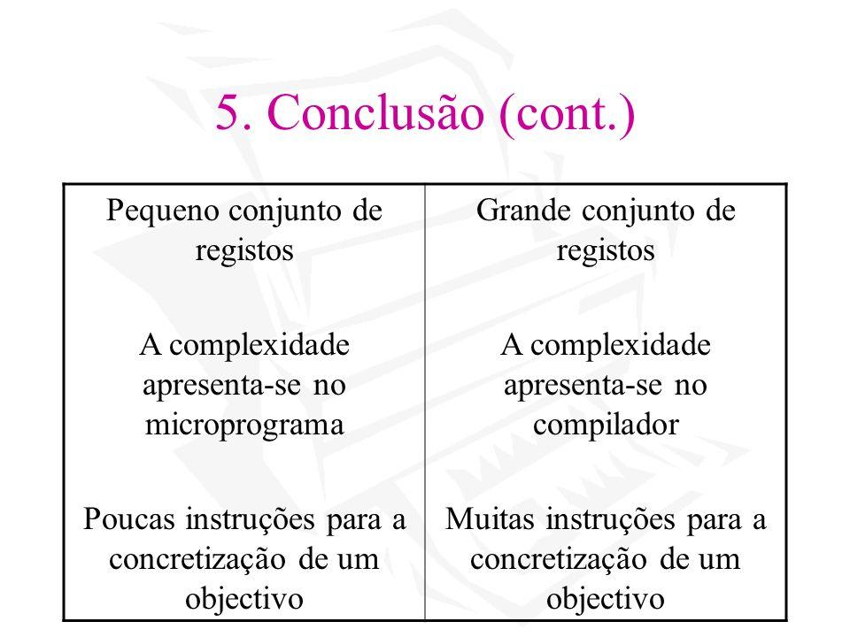 5. Conclusão (cont.) Pequeno conjunto de registos A complexidade apresenta-se no microprograma Poucas instruções para a concretização de um objectivo