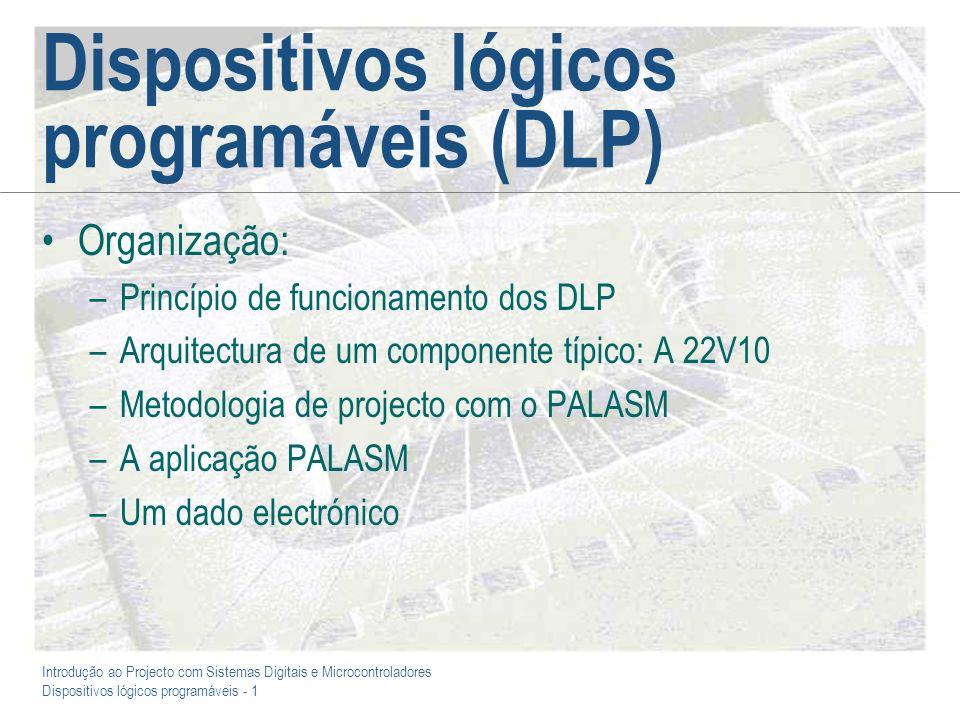 Introdução ao Projecto com Sistemas Digitais e Microcontroladores Dispositivos lógicos programáveis - 1 Dispositivos lógicos programáveis (DLP) Organi