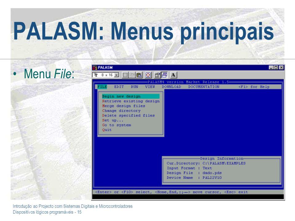 Introdução ao Projecto com Sistemas Digitais e Microcontroladores Dispositivos lógicos programáveis - 15 PALASM: Menus principais Menu File :