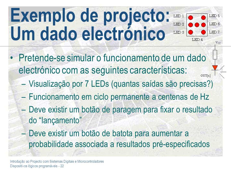 Introdução ao Projecto com Sistemas Digitais e Microcontroladores Dispositivos lógicos programáveis - 22 Exemplo de projecto: Um dado electrónico Pret