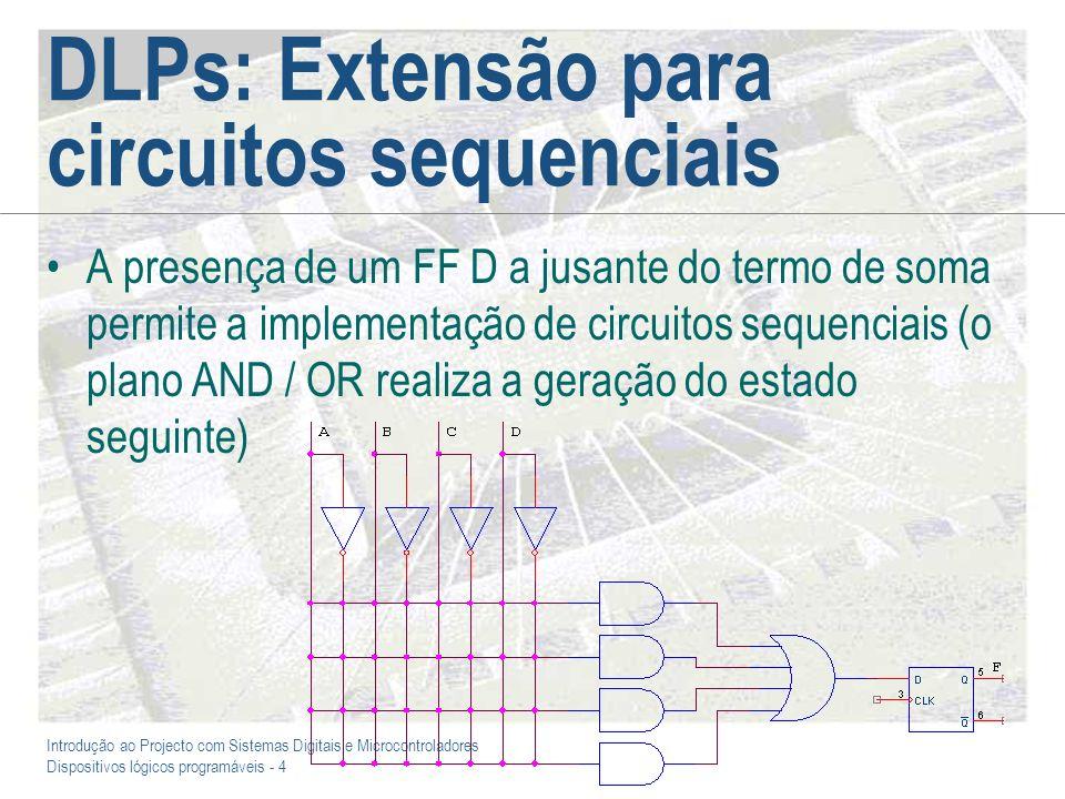 Introdução ao Projecto com Sistemas Digitais e Microcontroladores Dispositivos lógicos programáveis - 4 DLPs: Extensão para circuitos sequenciais A pr