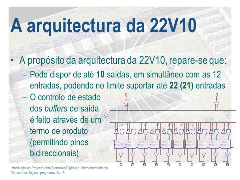 Introdução ao Projecto com Sistemas Digitais e Microcontroladores Dispositivos lógicos programáveis - 6 A arquitectura da 22V10 A propósito da arquite