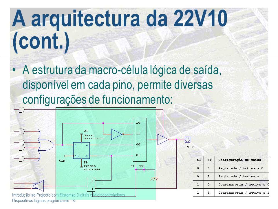 Introdução ao Projecto com Sistemas Digitais e Microcontroladores Dispositivos lógicos programáveis - 8 A arquitectura da 22V10 (cont.) A estrutura da