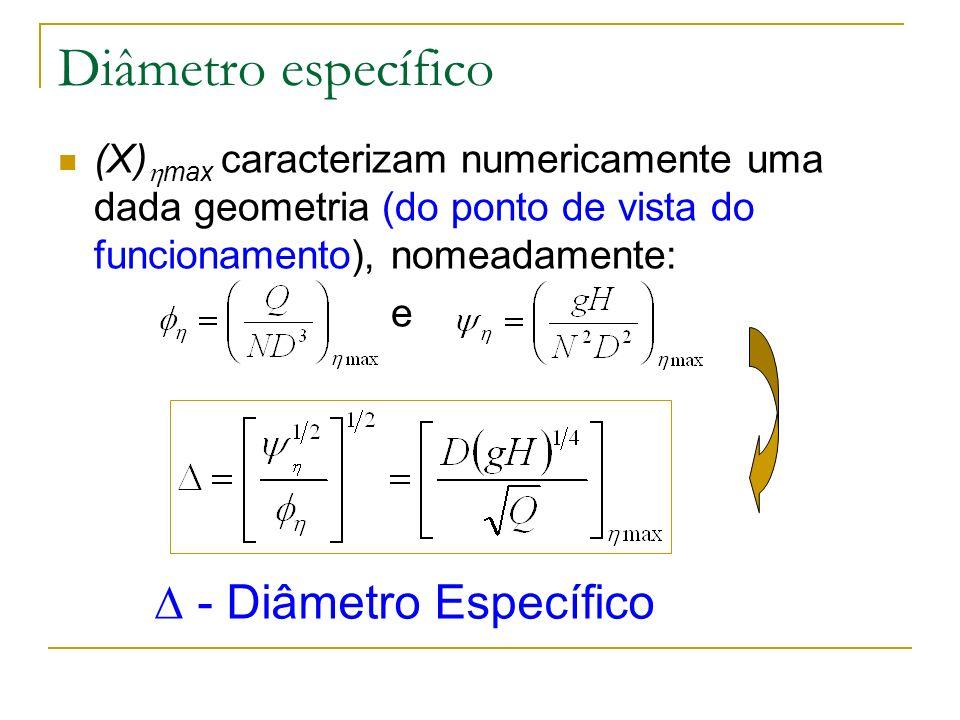 Diâmetro específico (X) max caracterizam numericamente uma dada geometria (do ponto de vista do funcionamento), nomeadamente: e - Diâmetro Específico