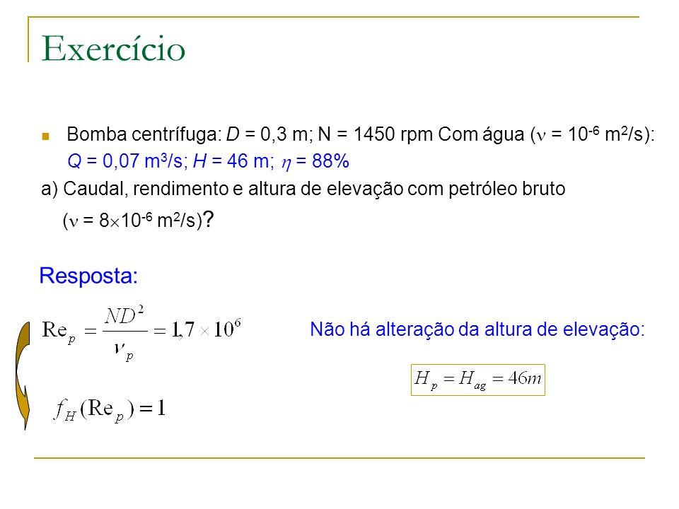 Exercício Bomba centrífuga: D = 0,3 m; N = 1450 rpm Com água ( = 10 -6 m 2 /s): Q = 0,07 m 3 /s; H = 46 m; = 88% a) Caudal, rendimento e altura de ele