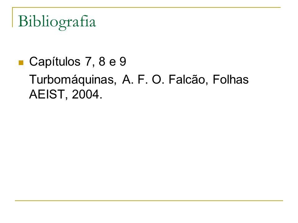 Bibliografia Capítulos 7, 8 e 9 Turbomáquinas, A. F. O. Falcão, Folhas AEIST, 2004.