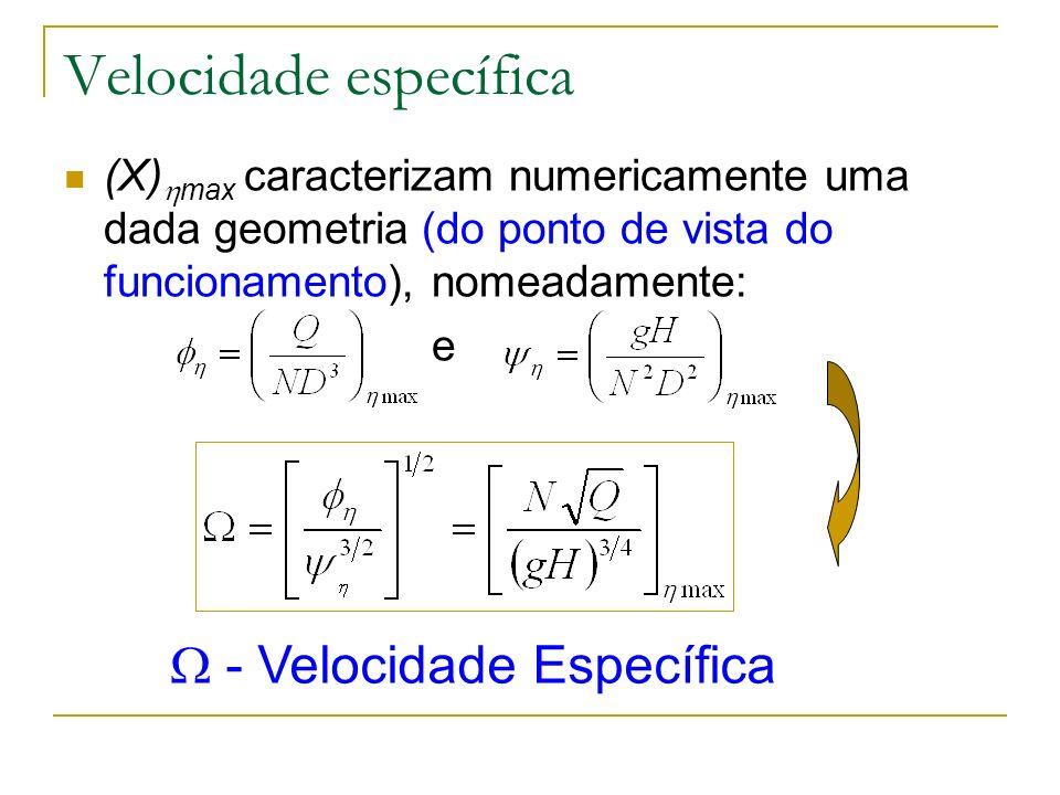 Velocidade específica (X) max caracterizam numericamente uma dada geometria (do ponto de vista do funcionamento), nomeadamente: e - Velocidade Específ