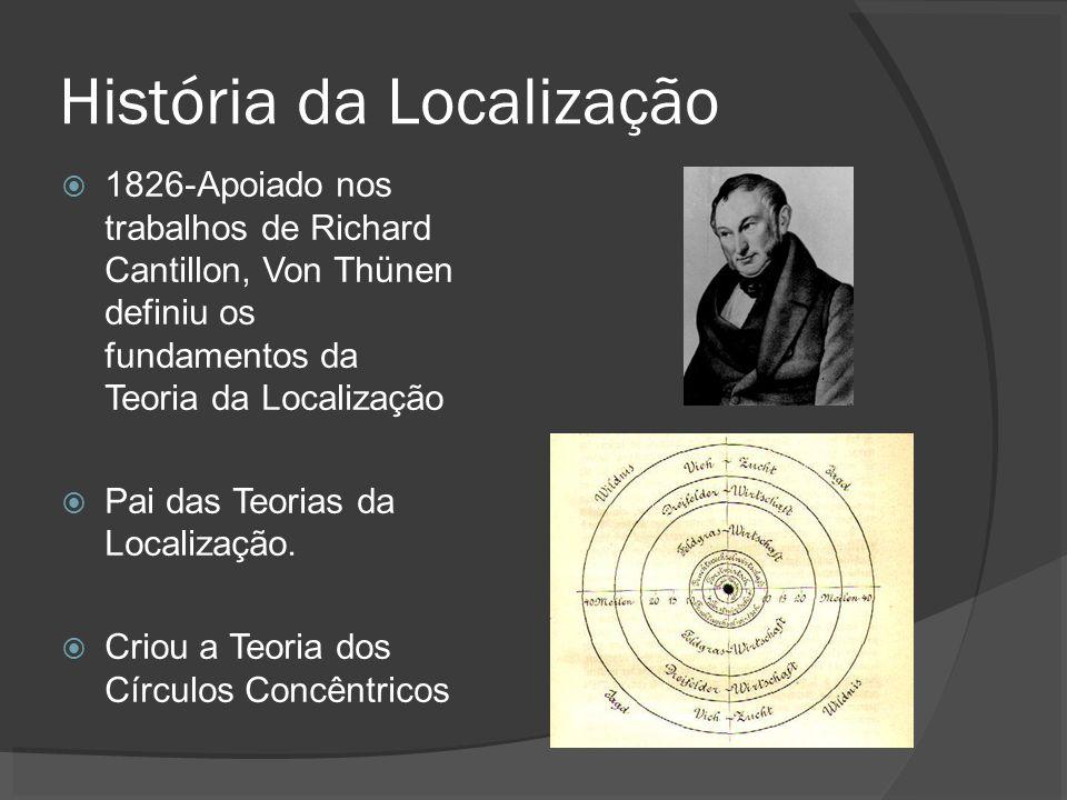 História da Localização 1826-Apoiado nos trabalhos de Richard Cantillon, Von Thünen definiu os fundamentos da Teoria da Localização Pai das Teorias da Localização.