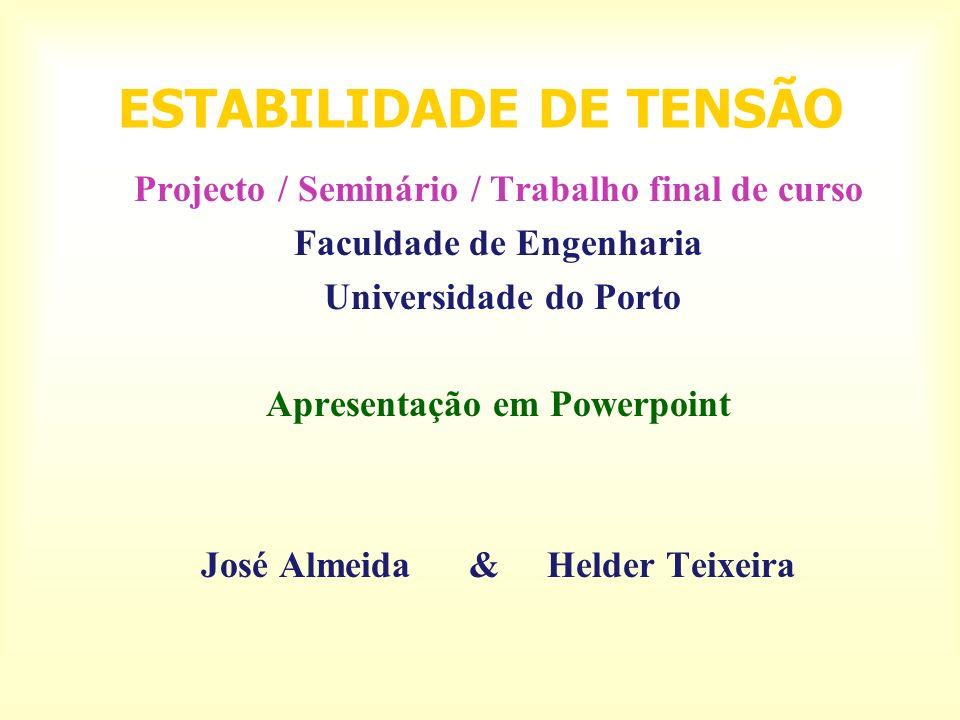 ESTABILIDADE DE TENSÃO Projecto / Seminário / Trabalho final de curso Faculdade de Engenharia Universidade do Porto Apresentação em Powerpoint José Almeida & Helder Teixeira