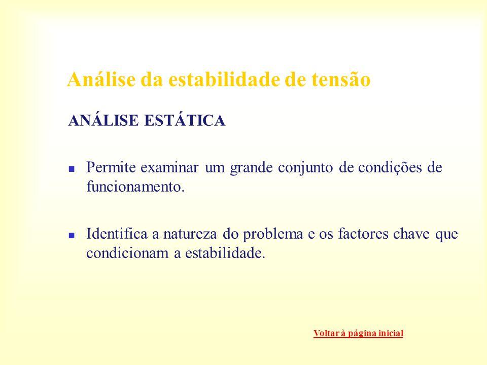 Análise da estabilidade de tensão ANÁLISE DINÂMICA Para estudos detalhados de situações de controlos específicos de tensão. Coordenação das protecções