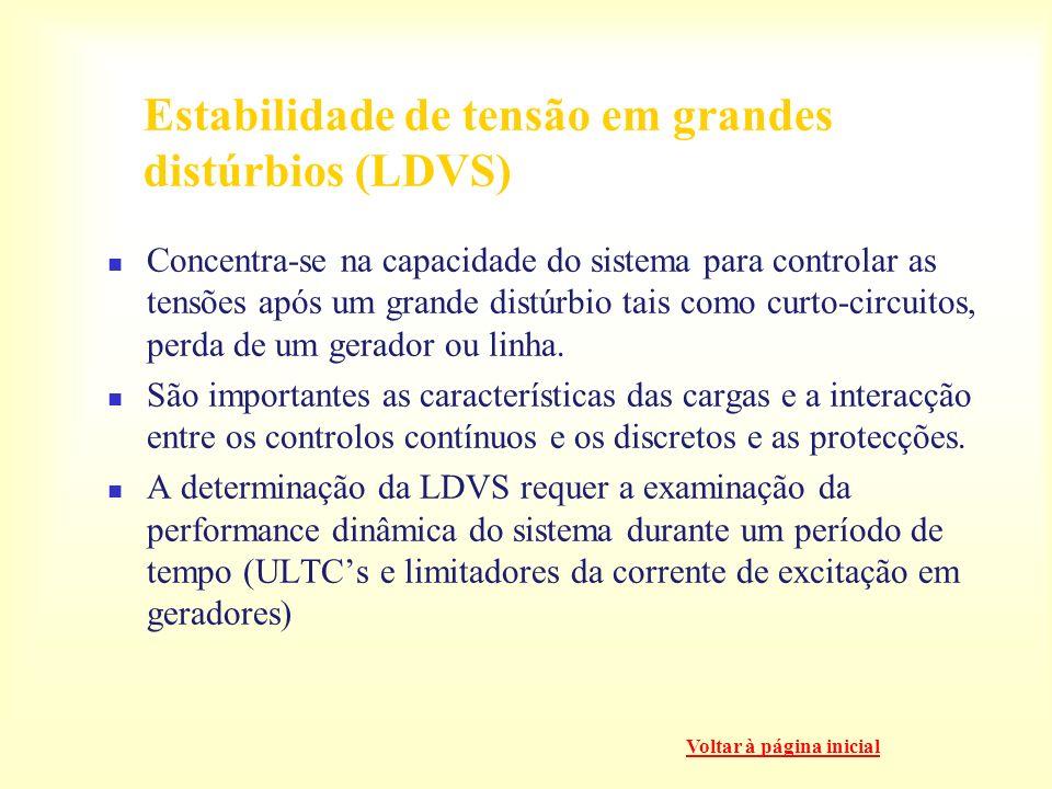 Estabilidade de tensão em grandes distúrbios (LDVS) Concentra-se na capacidade do sistema para controlar as tensões após um grande distúrbio tais como curto-circuitos, perda de um gerador ou linha.