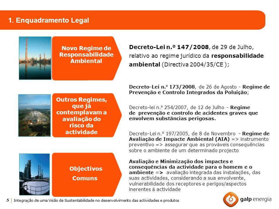 5 Integração de uma Visão de Sustentabilidade no desenvolvimento das actividades e produtos 1. Enquadramento Legal Novo Regime de Responsabilidade Amb