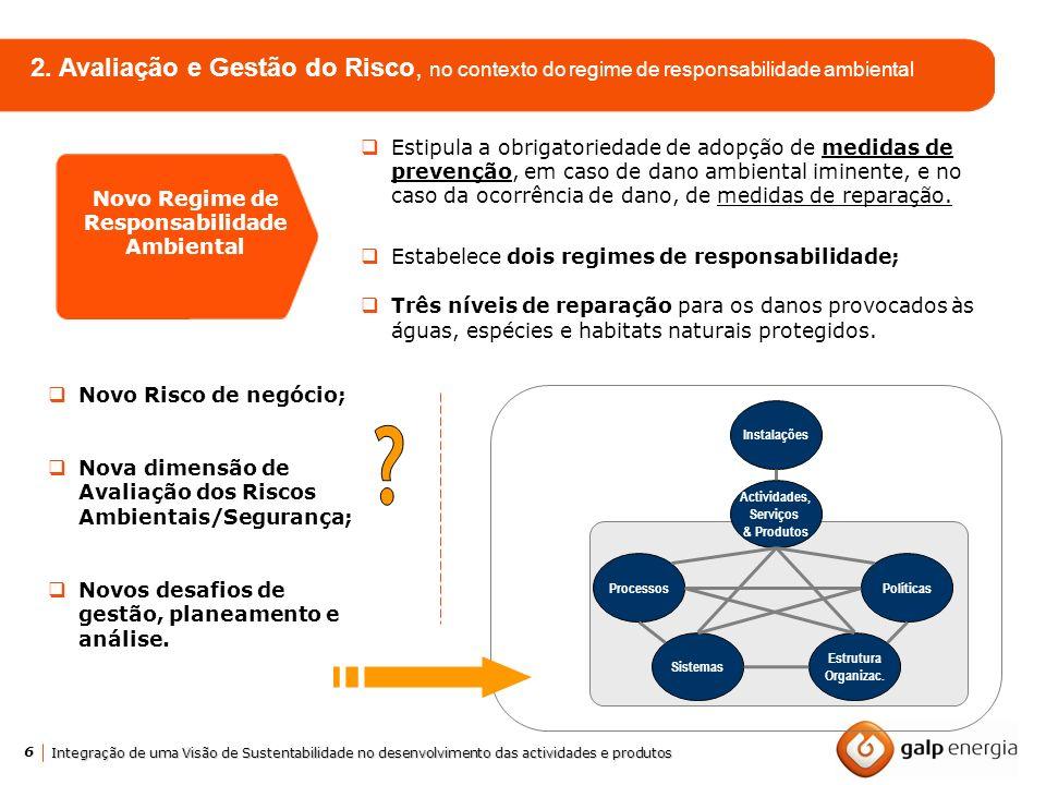 6 Integração de uma Visão de Sustentabilidade no desenvolvimento das actividades e produtos 2. Avaliação e Gestão do Risco, no contexto do regime de r