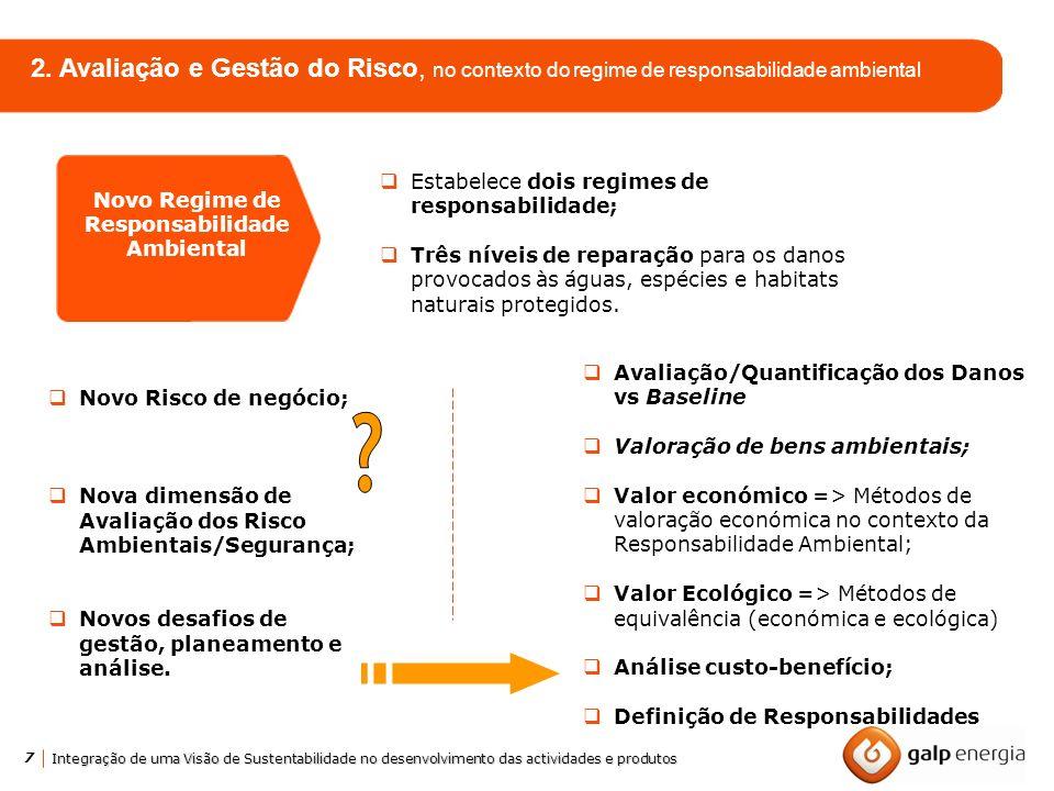7 Integração de uma Visão de Sustentabilidade no desenvolvimento das actividades e produtos 2. Avaliação e Gestão do Risco, no contexto do regime de r