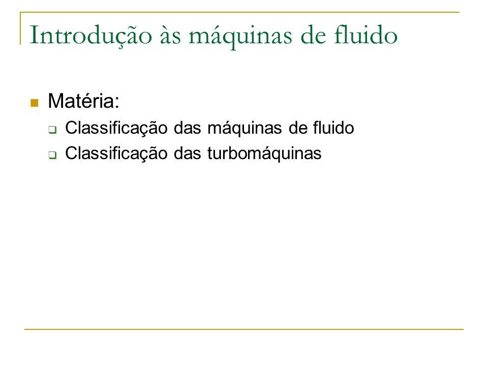 Introdução às máquinas de fluido Matéria: Classificação das máquinas de fluido Classificação das turbomáquinas