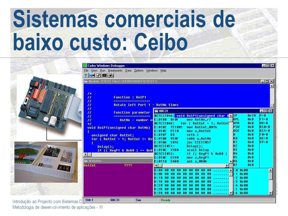 Introdução ao Projecto com Sistemas Digitais e Microcontroladores Metodologia de desenvolvimento de aplicações - 11 Sistemas comerciais de baixo custo