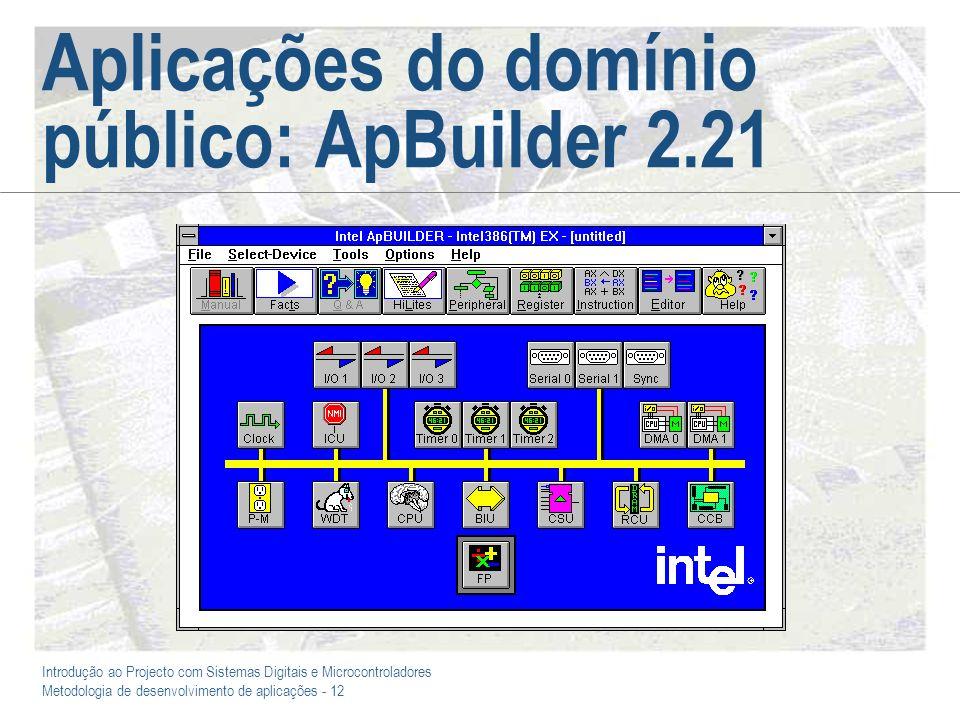 Introdução ao Projecto com Sistemas Digitais e Microcontroladores Metodologia de desenvolvimento de aplicações - 12 Aplicações do domínio público: ApB