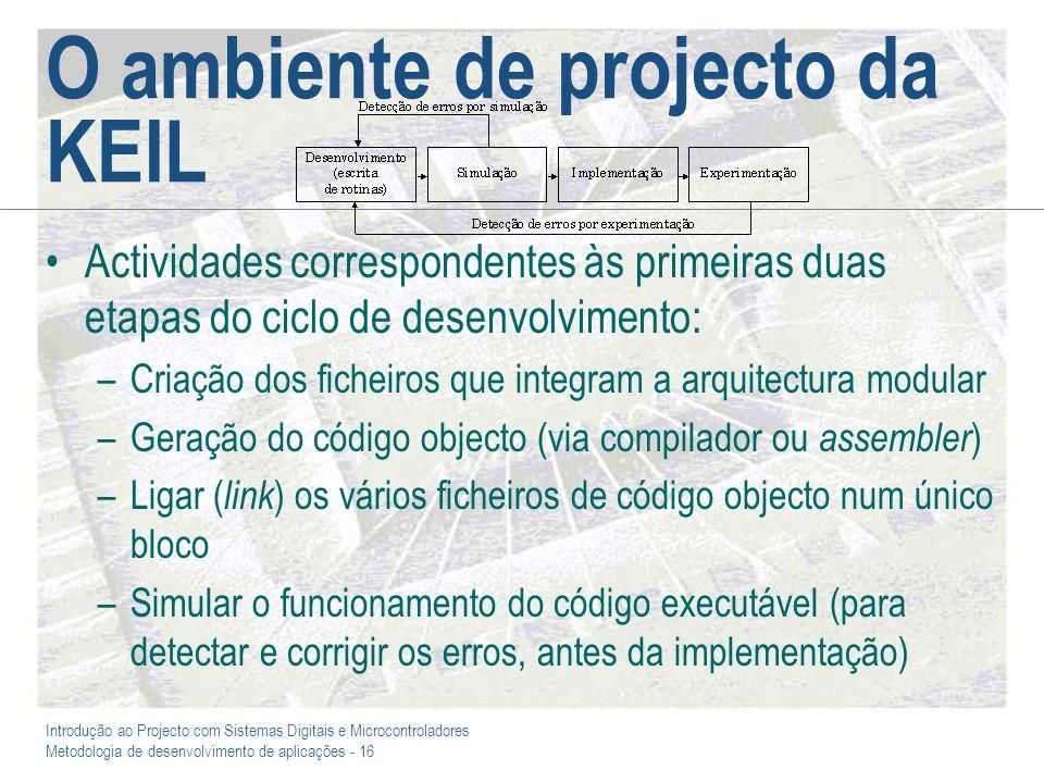 Introdução ao Projecto com Sistemas Digitais e Microcontroladores Metodologia de desenvolvimento de aplicações - 16 O ambiente de projecto da KEIL Act