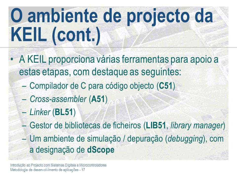 Introdução ao Projecto com Sistemas Digitais e Microcontroladores Metodologia de desenvolvimento de aplicações - 17 O ambiente de projecto da KEIL (co