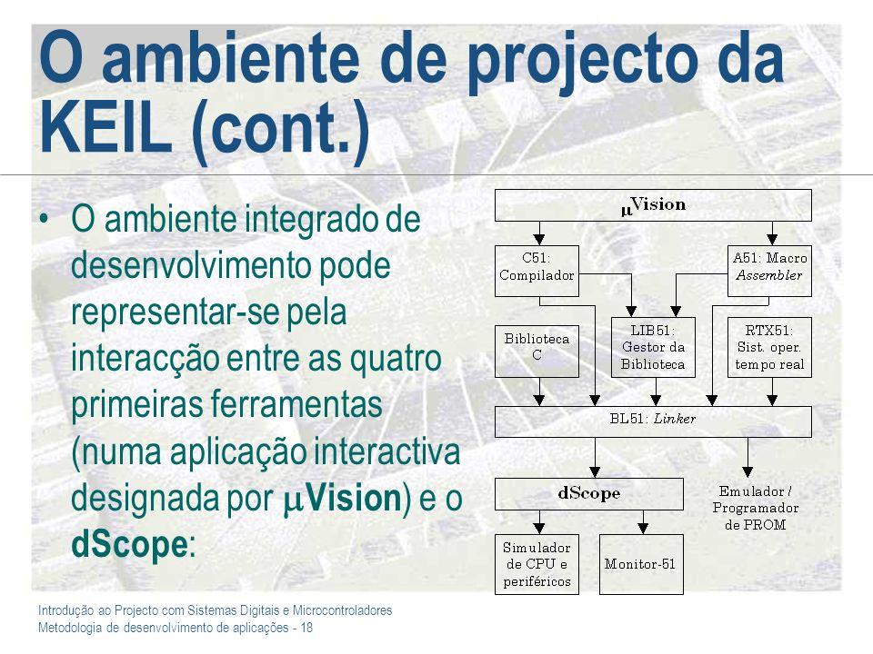 Introdução ao Projecto com Sistemas Digitais e Microcontroladores Metodologia de desenvolvimento de aplicações - 18 O ambiente de projecto da KEIL (co